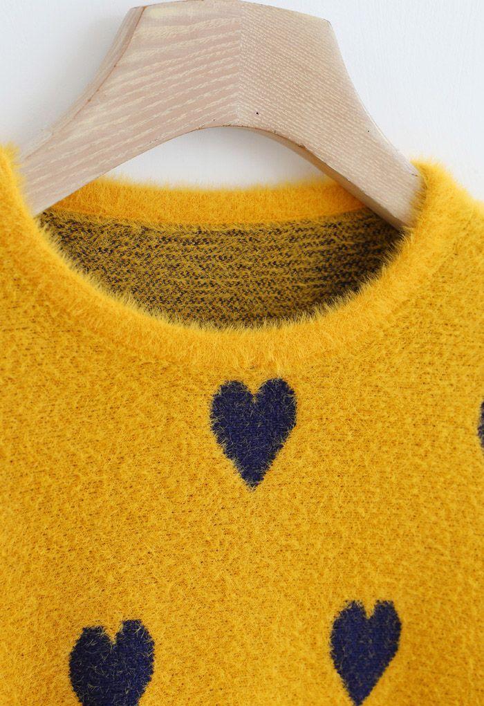 Batwing Sleeves Heart Fluffy Knit Sweater in Mustard