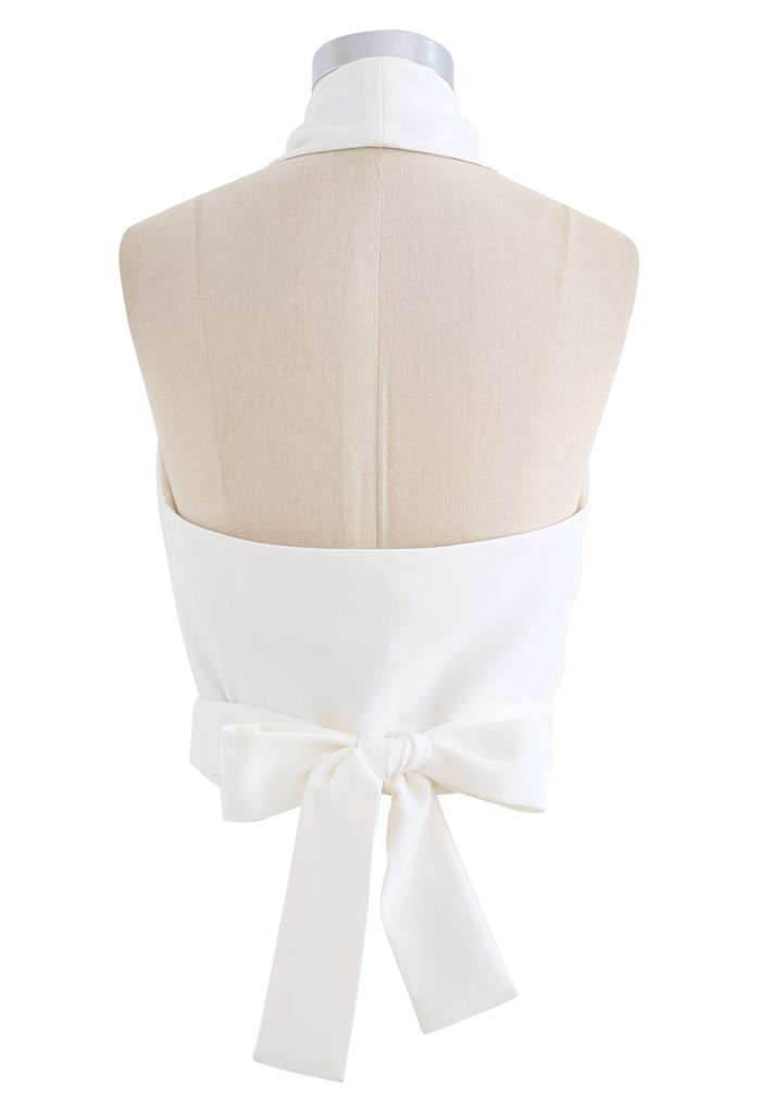Tie Waist Halter Crop Top in White