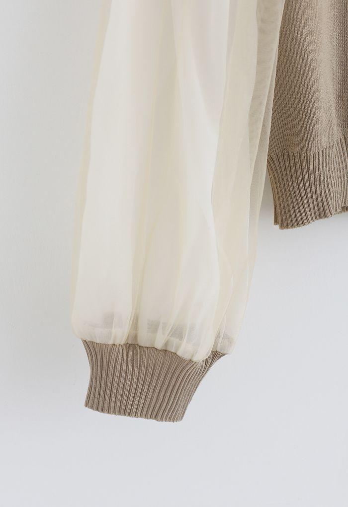 Organza Mesh Sleeves V-Neck Knit Top in Camel