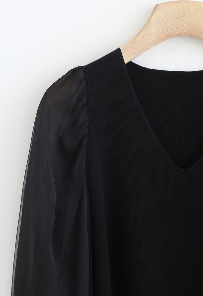 Organza Mesh Sleeves V-Neck Knit Top in Black