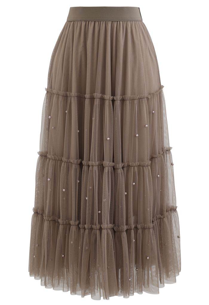 Beads Trim Double-Layered Tulle Mesh Skirt in Brown