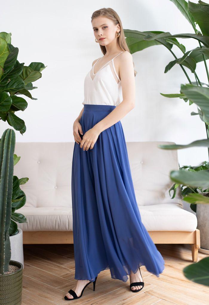 Timeless Favorite Chiffon Maxi Skirt in Dusty Blue