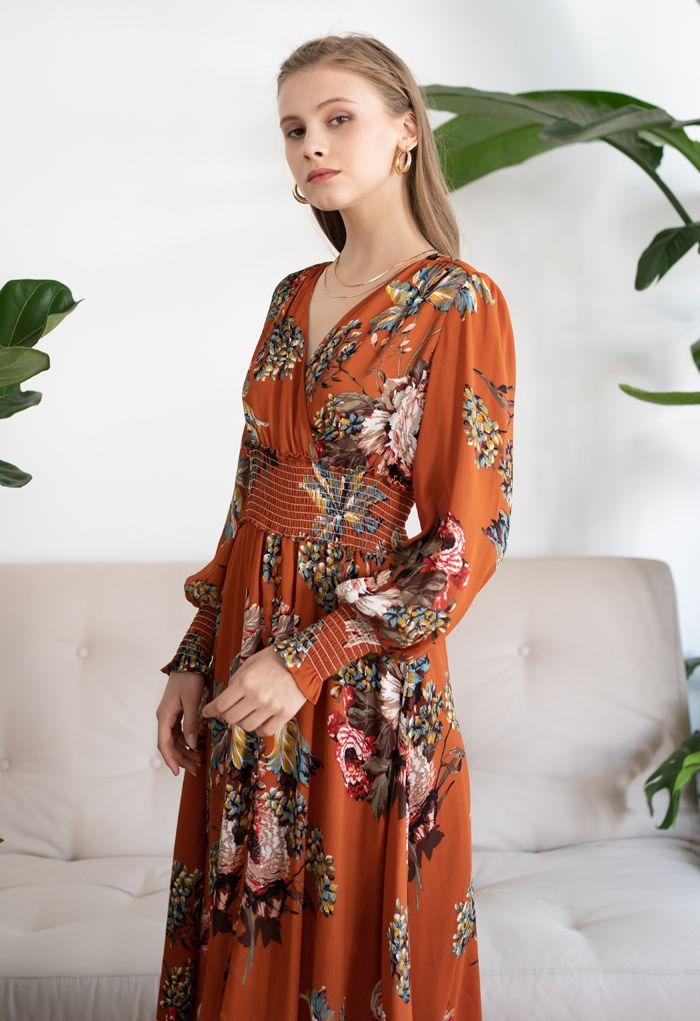 Blooming Bouquet Satin Button Down Wrap Midi Dress in Orange