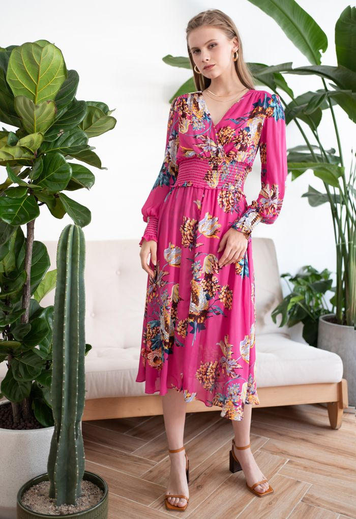 Blooming Bouquet Satin Button Down Wrap Midi Dress in Magenta