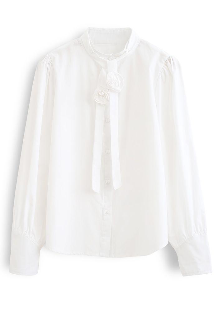 Detachable Flower Ribbon Buttoned Shirt in White