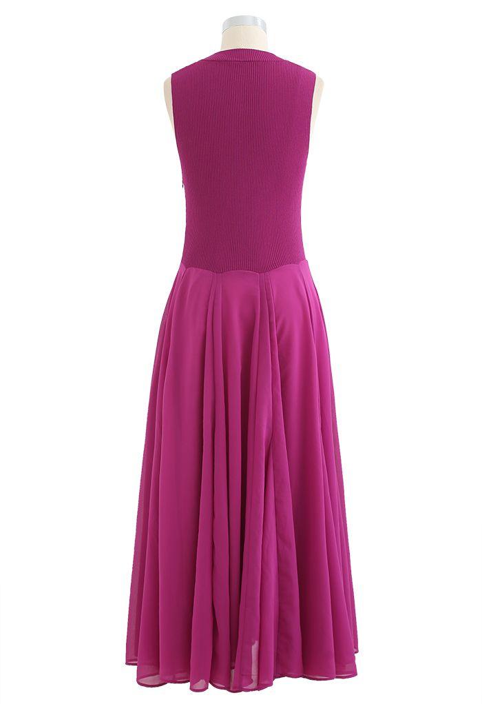 Knit Spliced Sleeveless Maxi Dress in Megenta