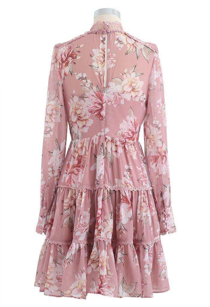 Floral Print Crochet Trim Frilling Chiffon Dress in Pink