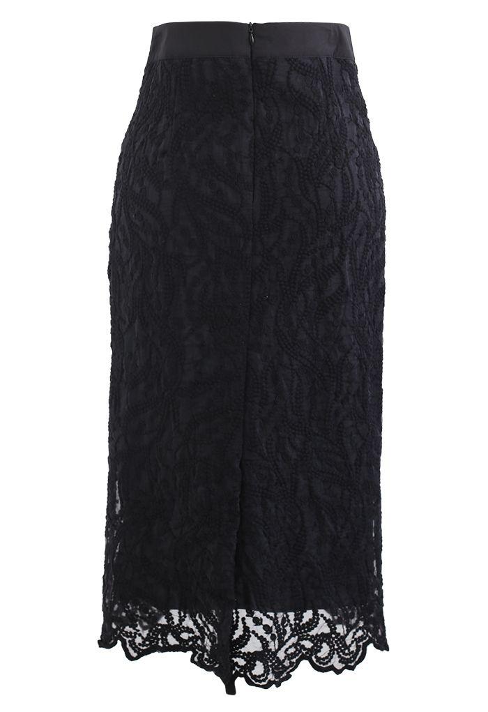 Embroidered Vine Organza Pencil Skirt in Black