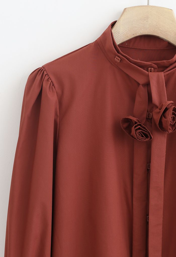 Detachable Flower Ribbon Buttoned Shirt in Caramel