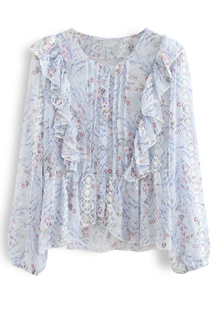 Floret Button Down Hi-Lo Organza Top in Light Blue
