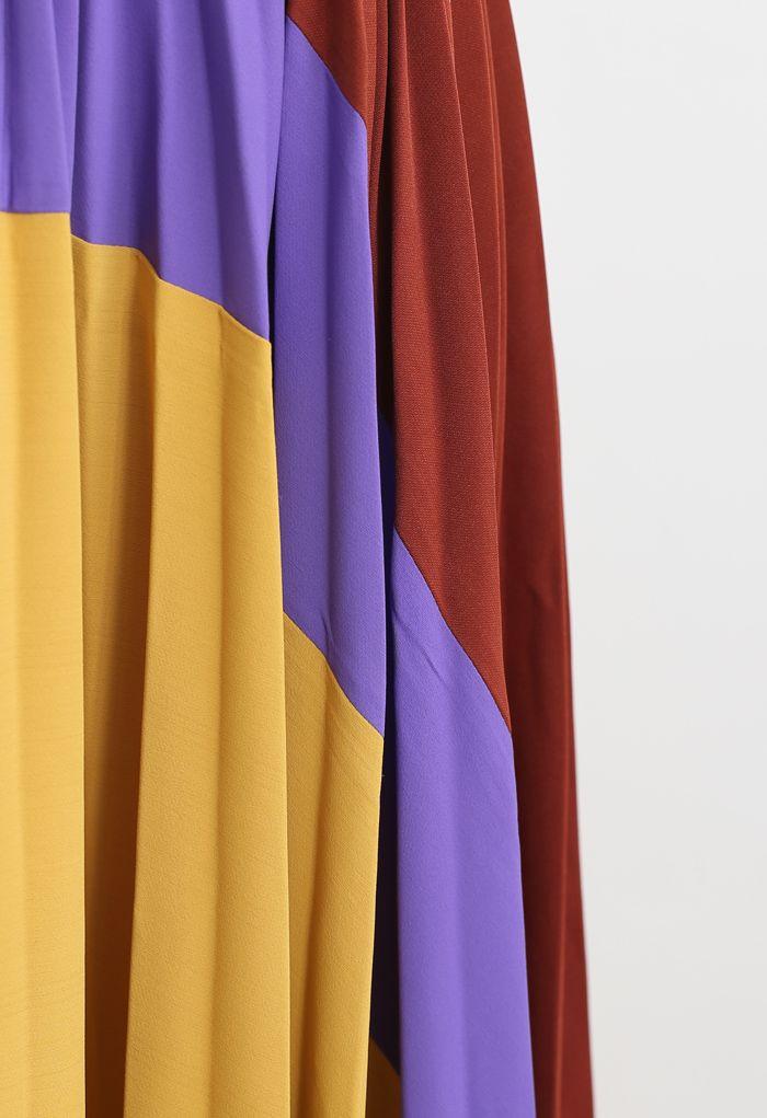 Passionate Color Blocked Pleated Midi Skirt