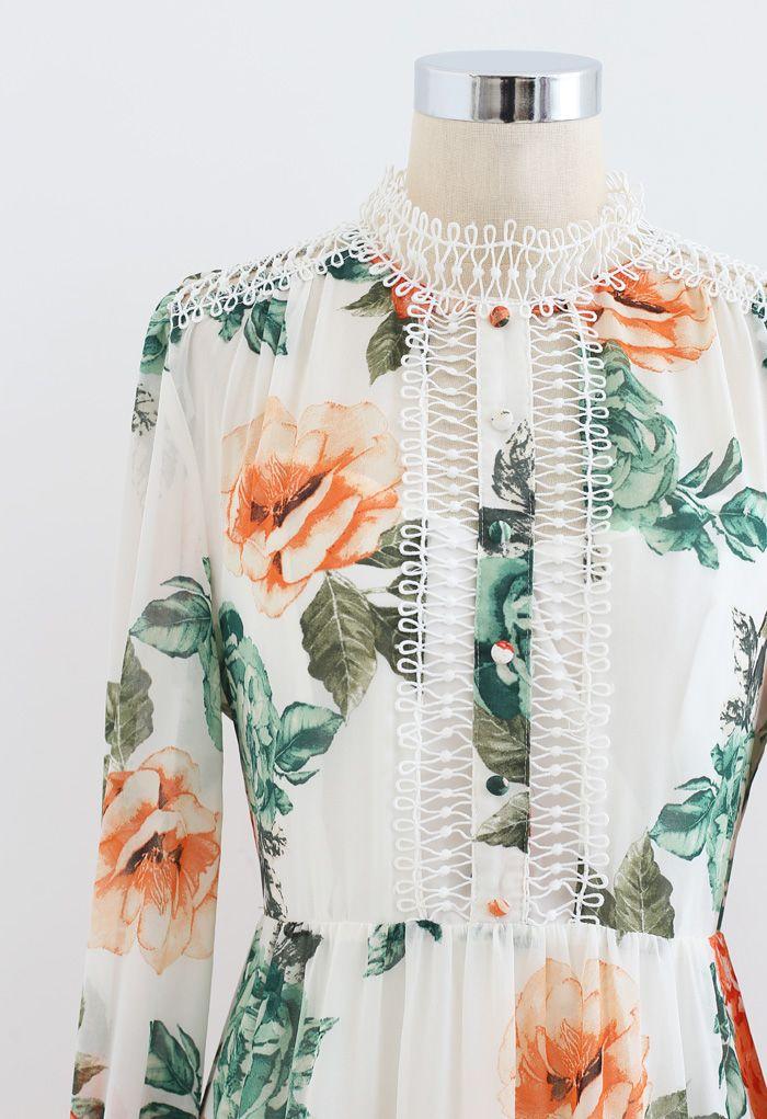 Floral Print Crochet Trim Frilling Chiffon Dress in White