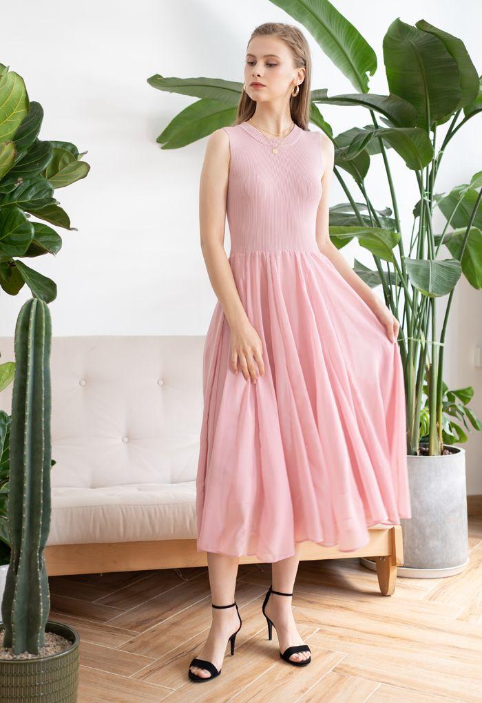 Knit Spliced Sleeveless Maxi Dress in Pink