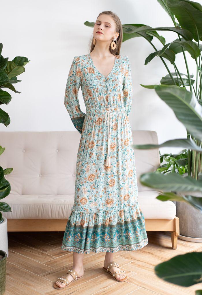 Buttoned Boho Floral Drawstring Waist Maxi Dress