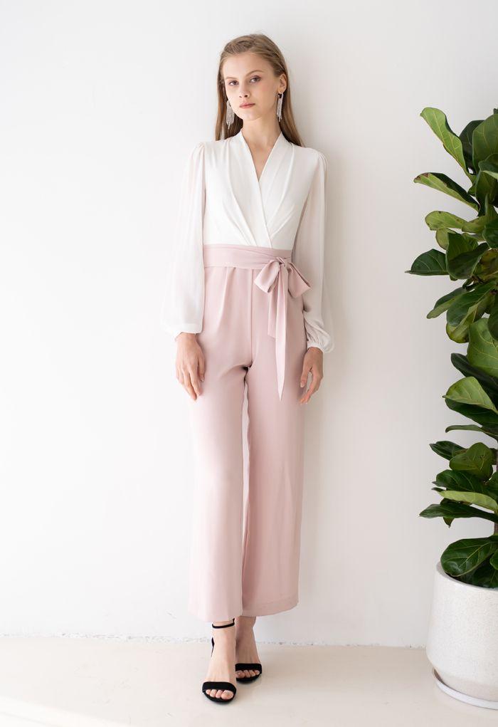 V-Neck Surplice Belted Jumpsuit in Pink