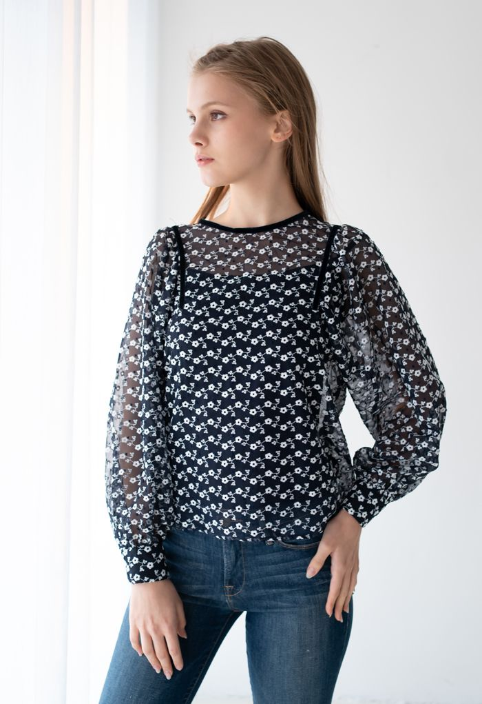 Embroidered Daisy Puff Sleeve Organza Top in Navy