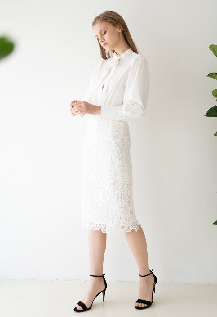 Embroidered Vine Organza Pencil Skirt in White