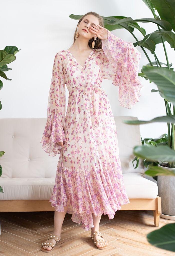 Ditsy Floral Kimono Sleeves Semi-Sheer Hi-Lo Dress