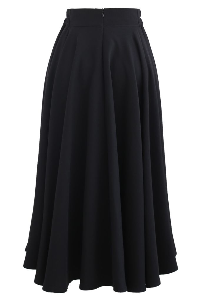 Solid Color Elastic Waist Flare Midi Skirt in Black