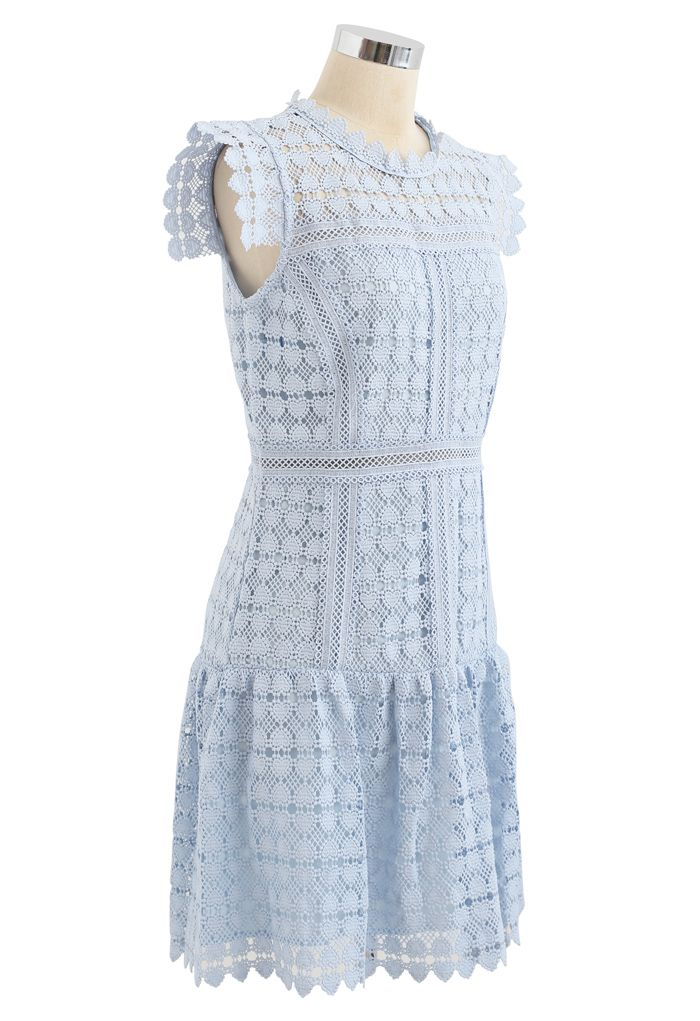 Full of Heart Crochet Sleeveless Dress in Blue