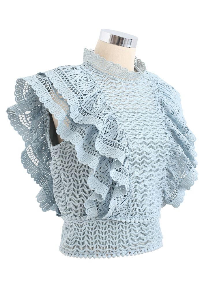 Tiered Ruffle Crochet Mock Neck Sleeveless Top in Teal
