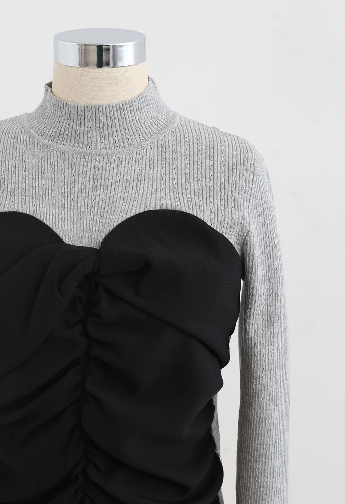 Sweetheart Spliced Ruched Knit Top in Grey