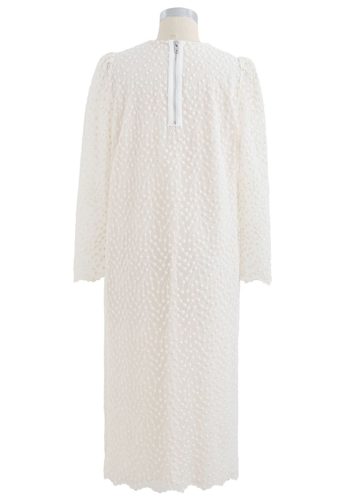 Embroidered Vine Dots Mesh Dress in Cream