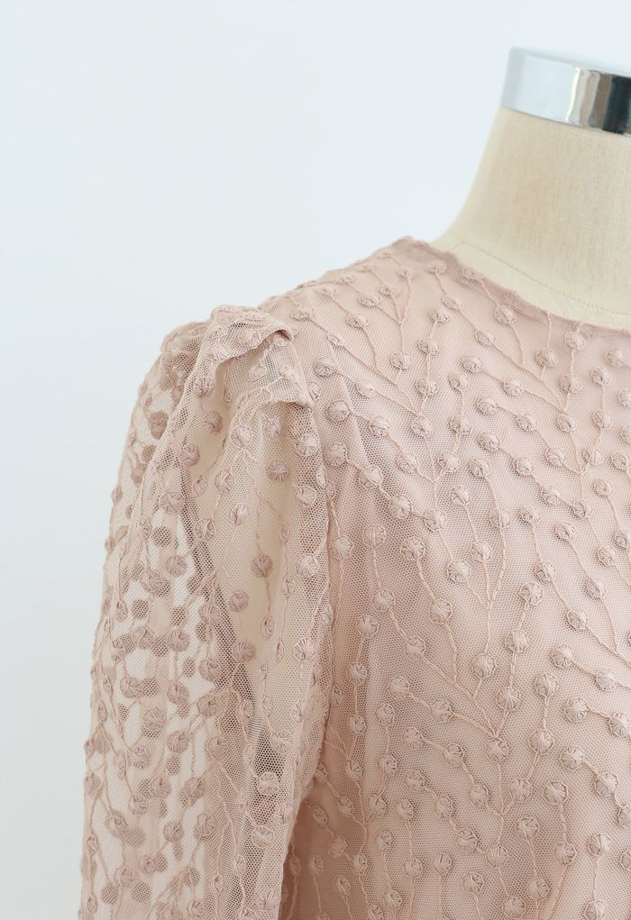 Embroidered Vine Dots Mesh Dress in Dusty Pink