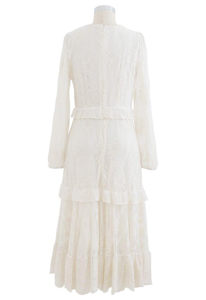 Breezy Embroidered V-Neck Mesh Midi Dress in Cream