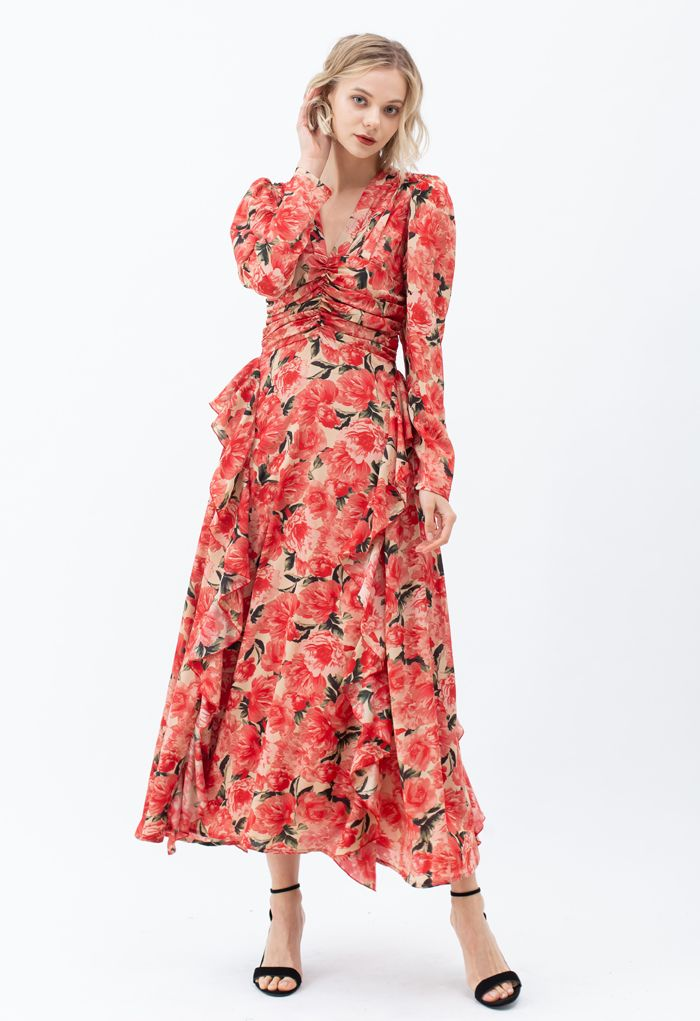 Ruched Red Floral V-Neck Ruffle Maxi Dress