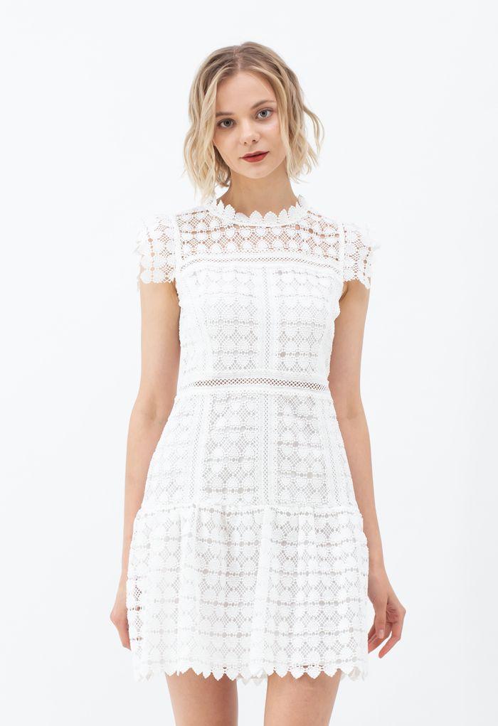 Full of Heart Crochet Sleeveless Dress in White