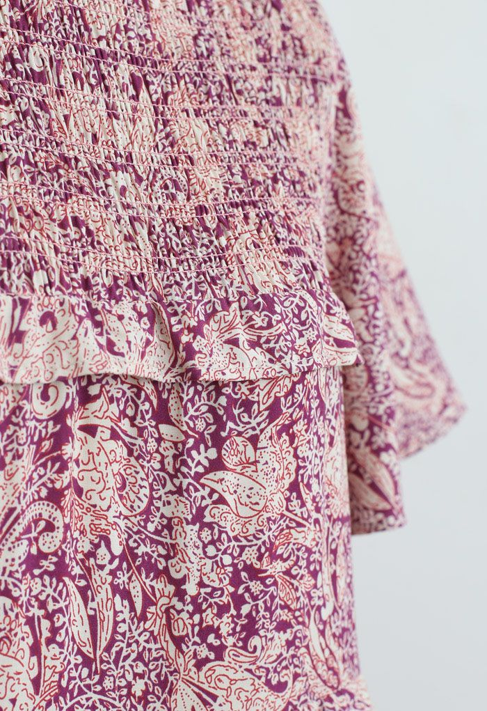 Ruffle Detail Floral Shirred Dress