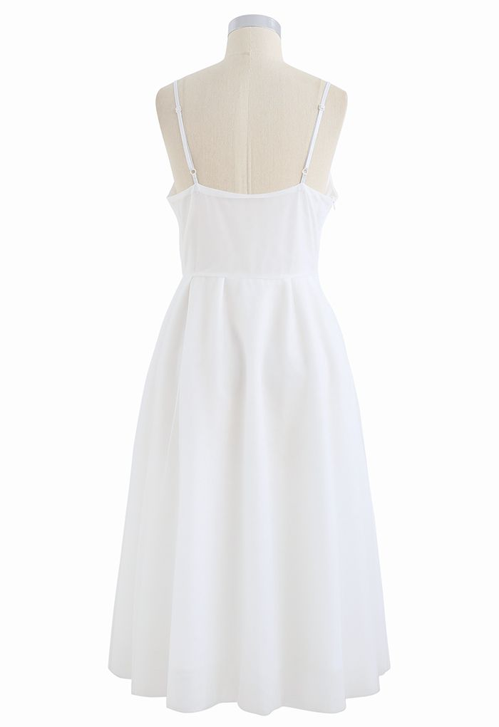 Wrap Bust Mesh Midi Cami Dress in White