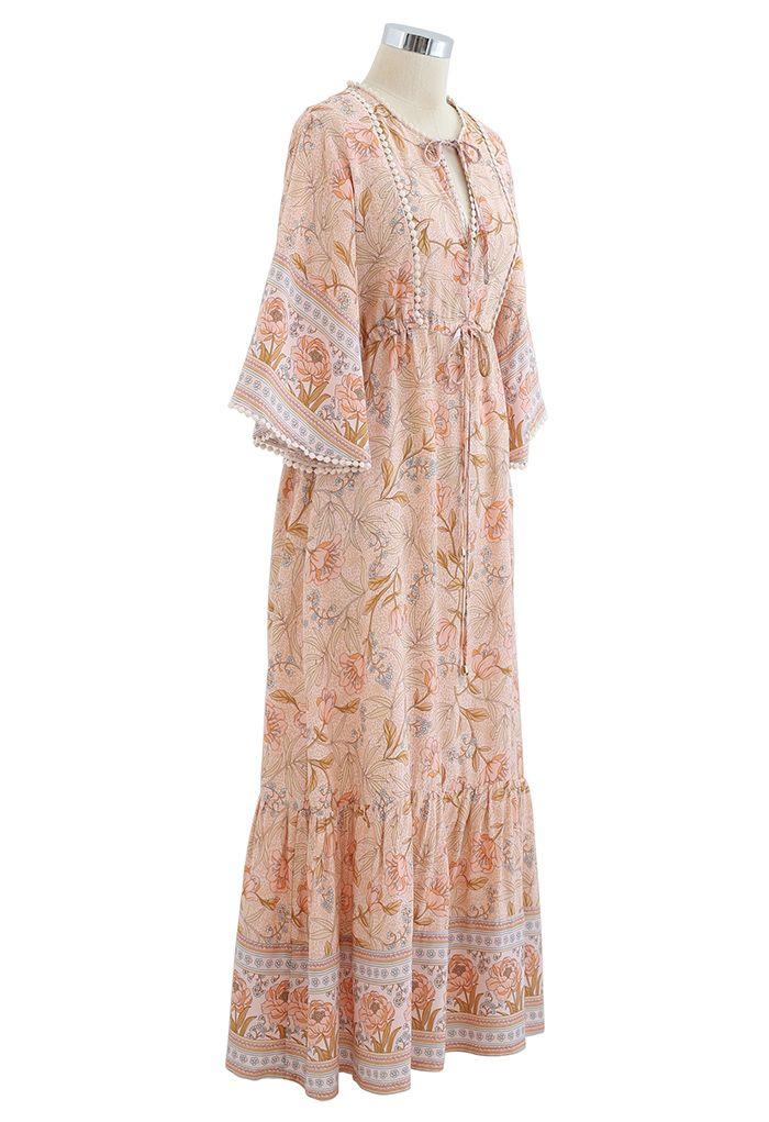 V-Neck Flare Sleeve Floral Frilling Dress in Coral