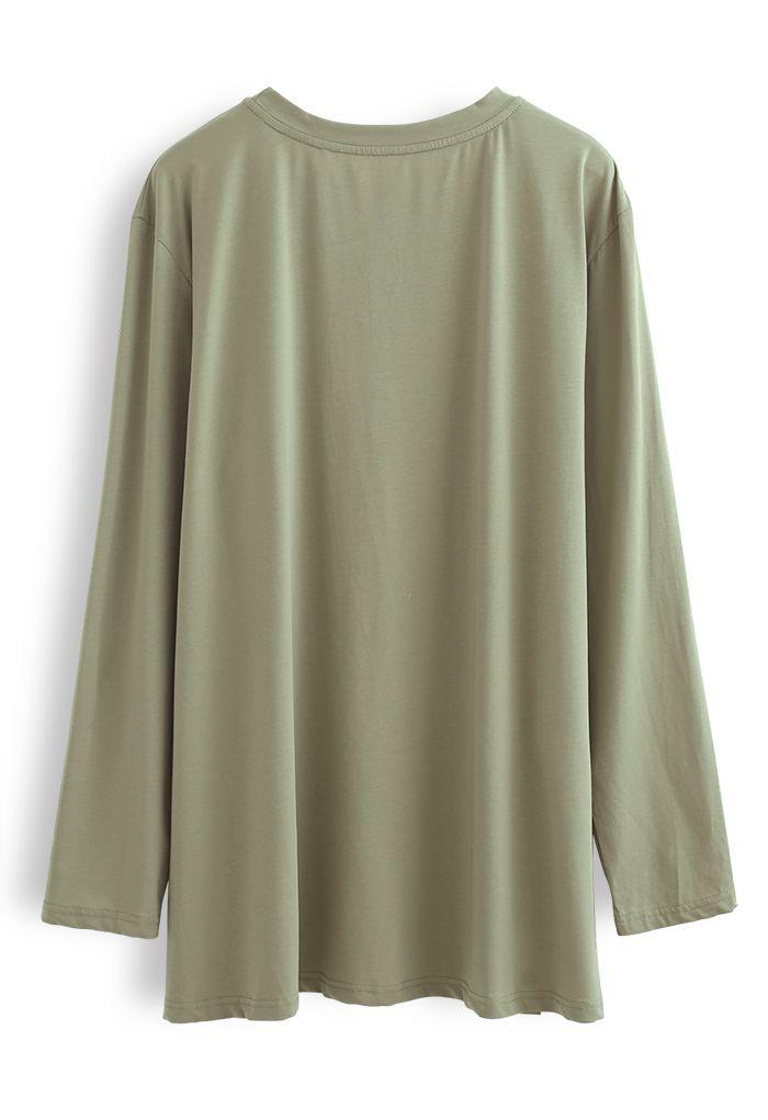 One Pocket Loose Pullover Sweatshirt in Olive