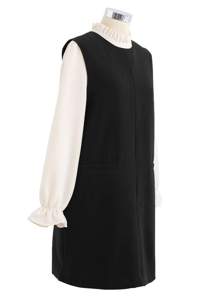 Ruffle Neck Wool-Blend Twinset Dress in Black