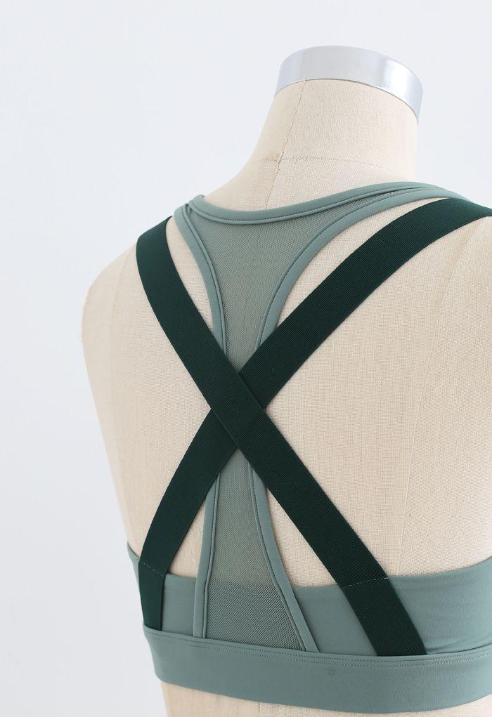 Mesh Zipper Cross Back Medium-Impact Sports Bra in Green