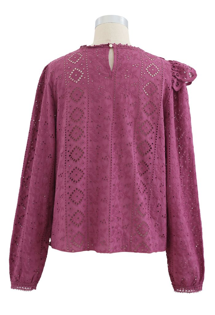 Embroidered Floral Eyelet Ruffle Top in Berry