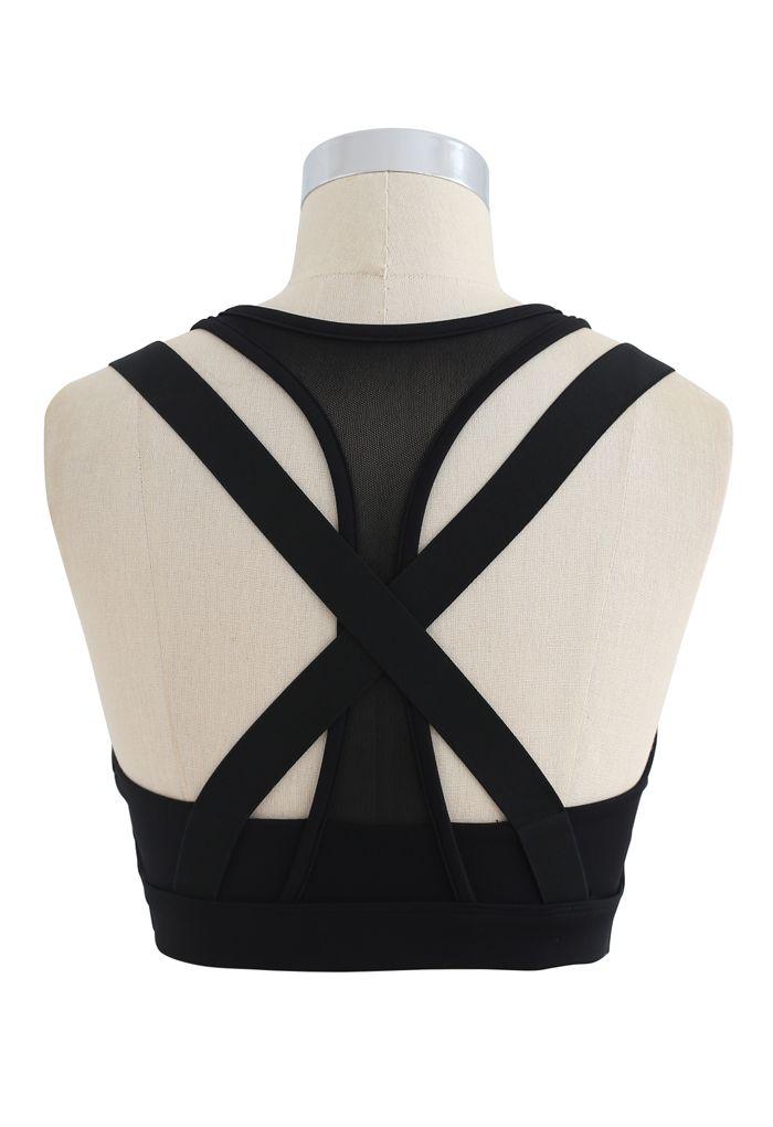 Mesh Zipper Cross Back Medium-Impact Sports Bra in Black