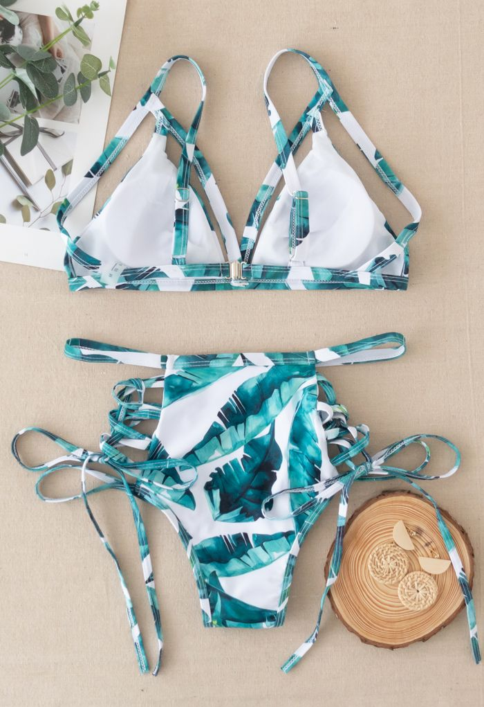 Lace-Up Strapped Bikini Set in Palm Leaves