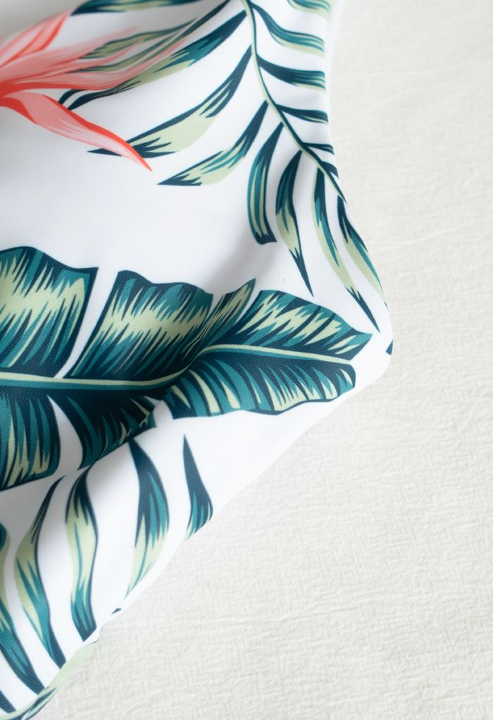 Wrap Front Tropical Leaves One-Piece Swimsuit