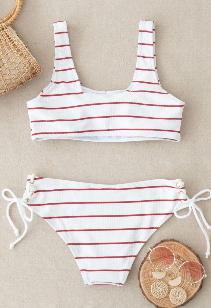 Lace-Up Striped Bikini Set in Red