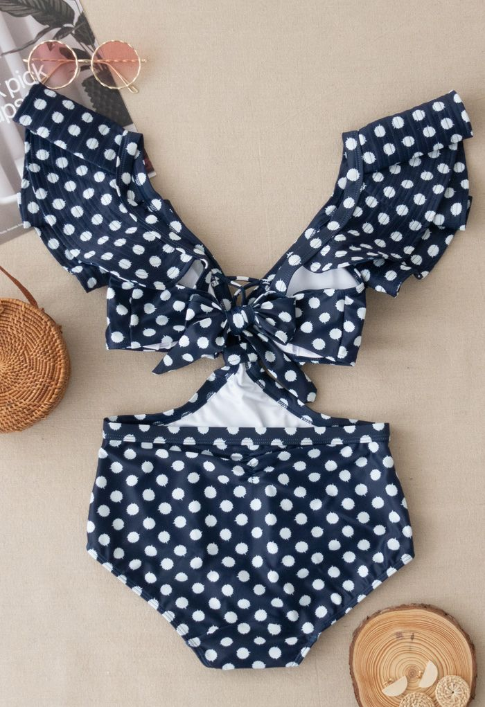 Dotted Plunging V-Neck Bowknot Ruffle Swimsuit