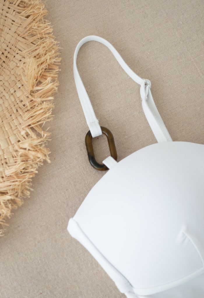 Bustier Open Back One-Piece Swimsuit in White