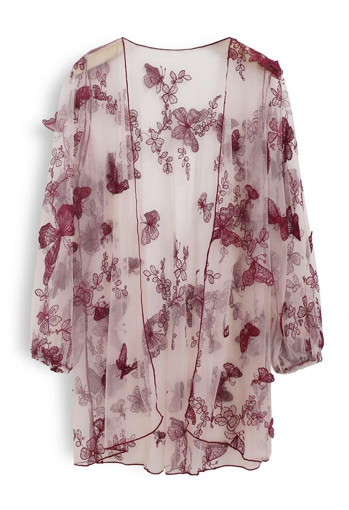 Halter Tied Ruffle Swimsuit with Mesh Kimono in Wine