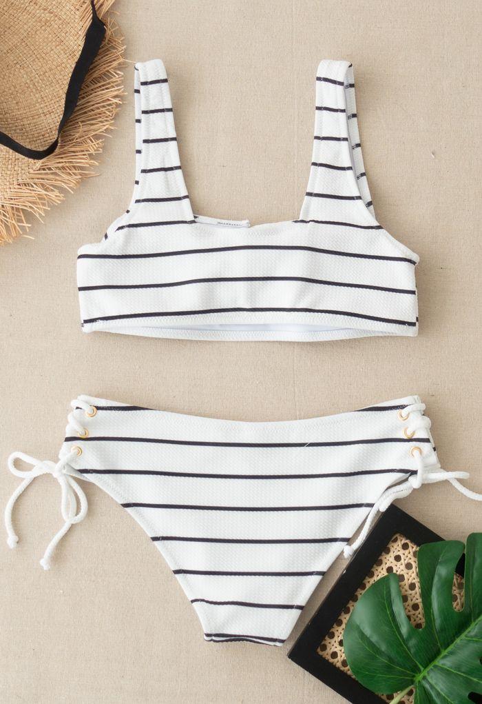 Lace-Up Striped Bikini Set in Black