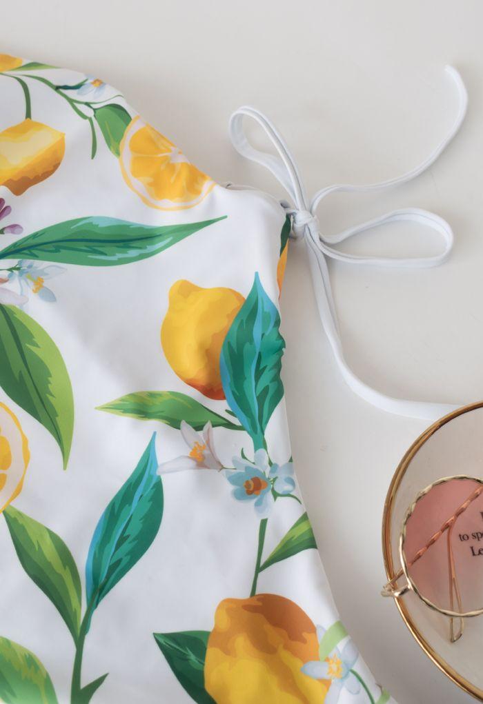 Lemon Print Lace-Up Swimsuit