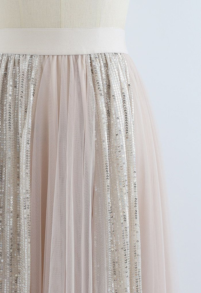 Shimmer Sequin Panelled Tulle Maxi Skirt in Cream
