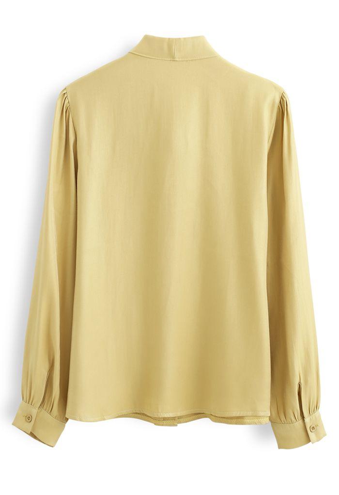 Shimmer Bowknot Button Down Shirt in Mustard