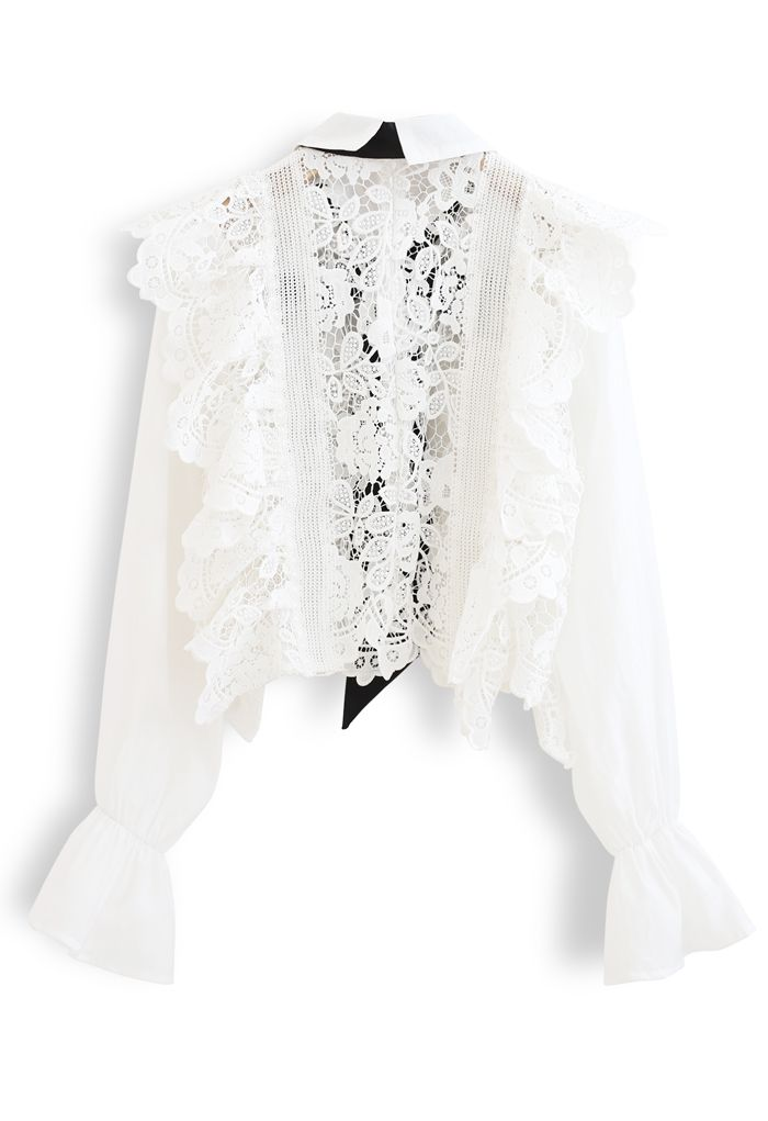 Pussy-Bow Floral Crochet Sleeves Top